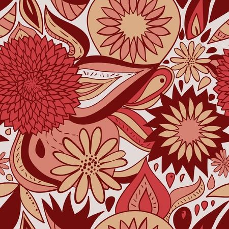 textile image: Red floral pattern illustration