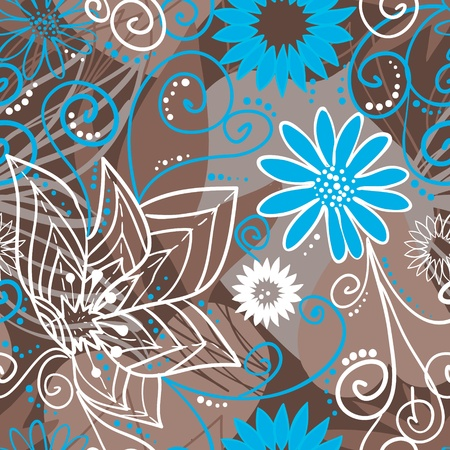 floral fabric: Coffee-and-blue floral pattern illustration Illustration