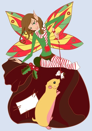 Funny christmas fairy illustration Vector