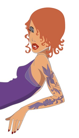 Red-haired girl with tattoo illustration Vector