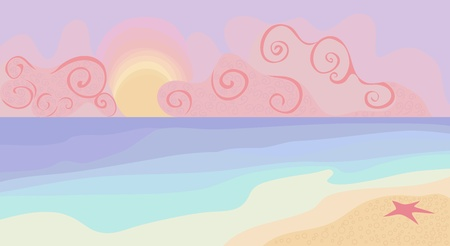 sunny beach: Beach and sunset with pastel colors illustration