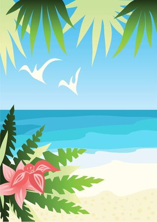 Bright sunny beach illustration Vector