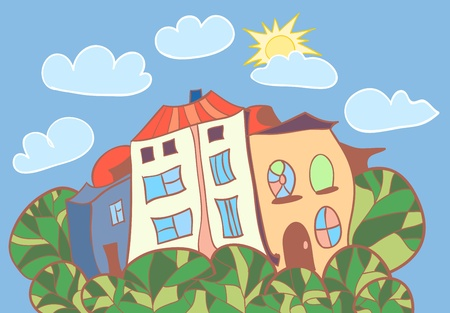 Little cartoon houses illustration
