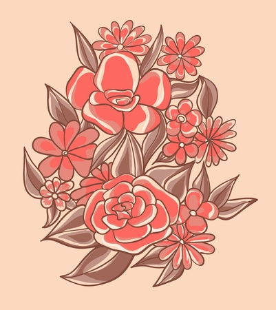 Pretty pink flowers illustration Vector