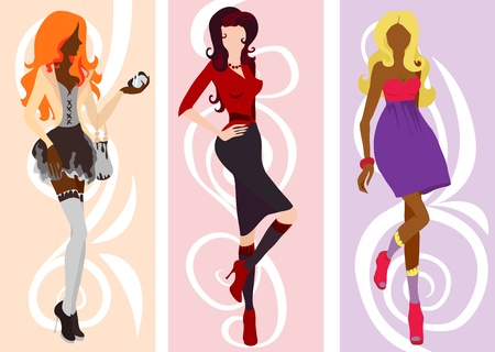 Silhouette cute fashion women illustration Vector