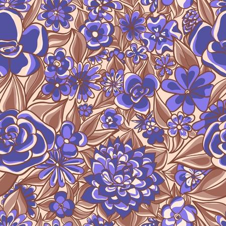 textile image: Blue Floral Pattern illustration Illustration