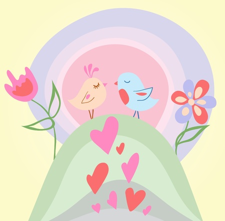 Tiny love bird illustration Vector