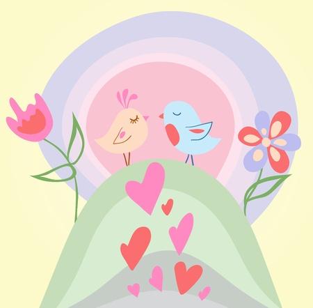 diminuto: Tiny Love ilustraci�n de aves Vectores