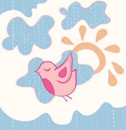 Little sweet flying bird illustration Vector