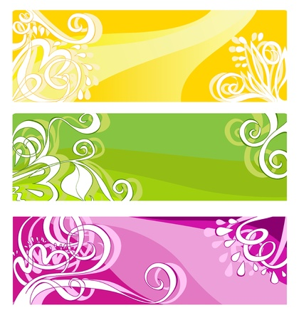 Bright banners with floral elements illustration Illustration