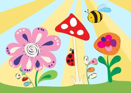 Cheerful children's meadow illustration Stock Vector - 11433025