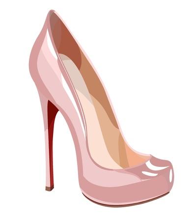 Elegant pink shoe illustration