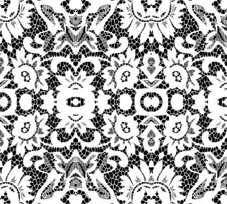 Beautiful white lace on black background illustration Illustration