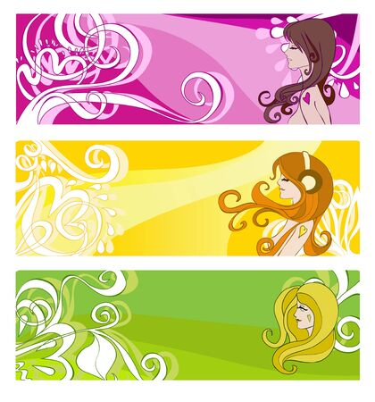 Bright banners with floral elements and women illustration Illustration