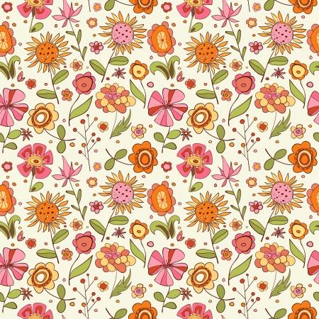 dessin fleur: Motif avec la bande dessin�e fleurs illustration
