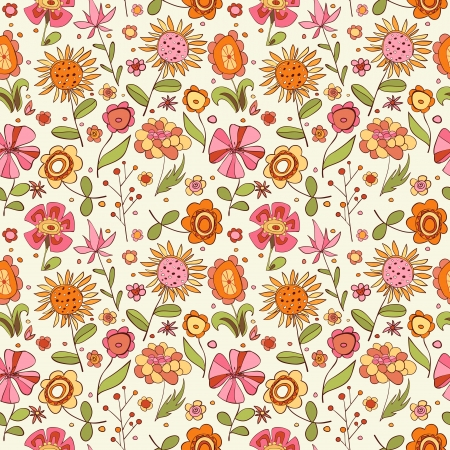 yellow stamens: Pattern with cartoon flowers illustration