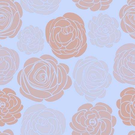 Pattern with delicate roses on blue illustration Vector