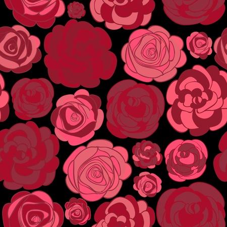 Patr�n de rosas rojas en la ilustraci�n negro