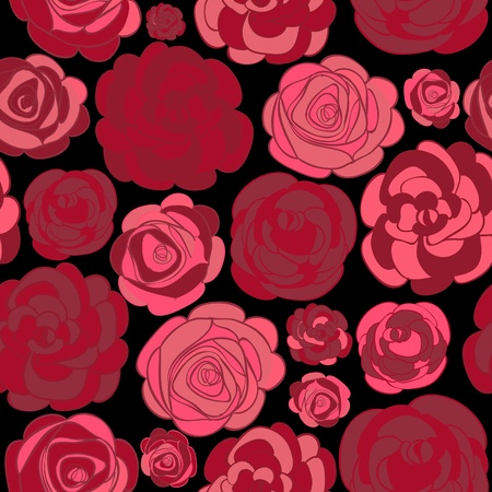 Pattern with red roses on black illustration Vector