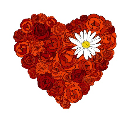 Heart of roses and daisy illustration Vector