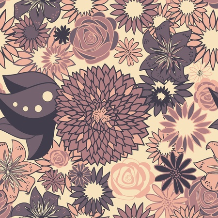 Seamless floral pattern in pastel colors