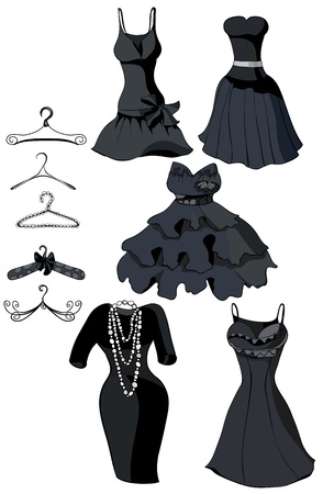 dress form: Conjunto de peque�os vestidos negros y percheros. Ilustraci�n vectorial