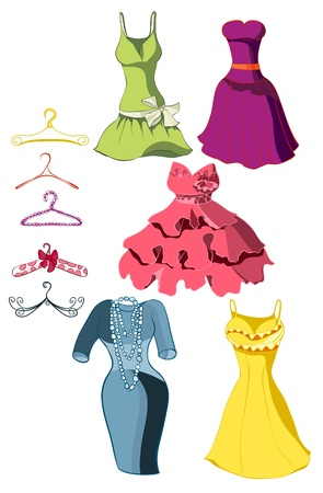 small group of object: Set of bright dresses and coat racks. Vector illustration Illustration