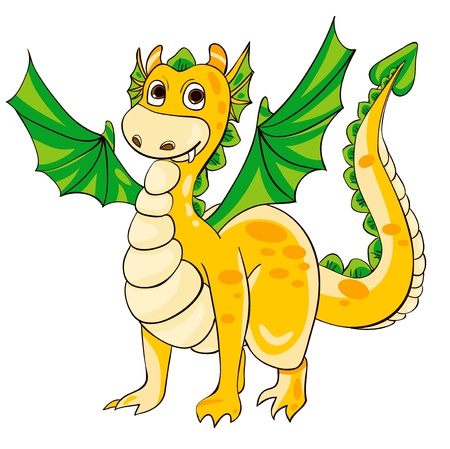 fairy tail: Golden Dragon with green wings. Vector illustration