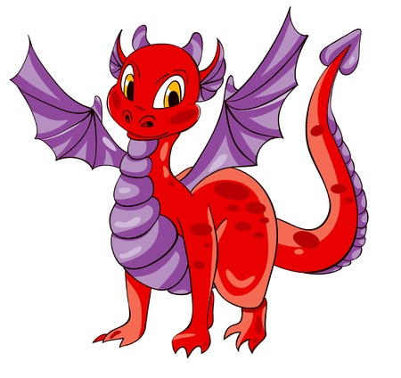 Red dragon with purple wings. Vector illustration Vector