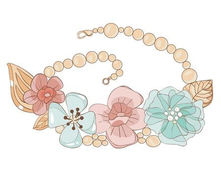 bijuteri:  Necklace with flowers in gentle tones. illustration