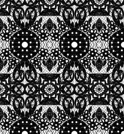 Lace with circles and flowers. illustration Illustration