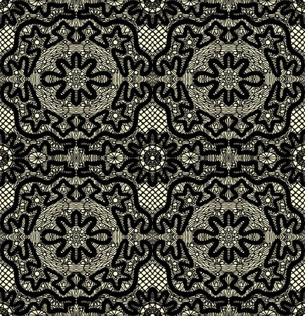 Black seamless lace on a yellow background.  illustration Vector