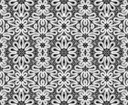 lavoro manuale: Bella pizzo bianco su sfondo nero. illustrazione