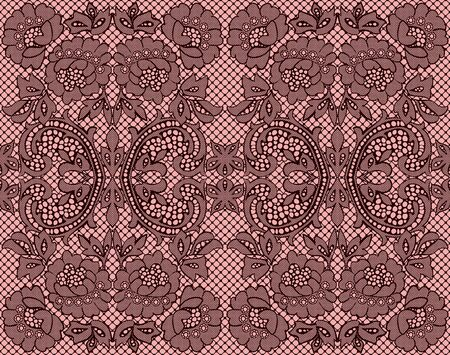 Seamless lace burgundy on pink background. illustration Vector