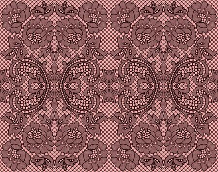 burgundy ribbon: Seamless pizzo bordeaux su sfondo rosa. illustrazione