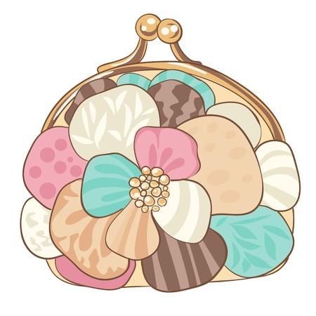 Pretty purse with pastel colors. illustration Illustration