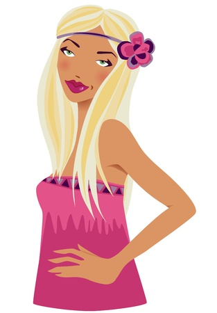 Blonde woman in pink with a flower. illustration Illustration