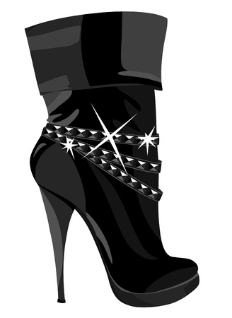 leather shoe: Shining black boots with heels. illustration