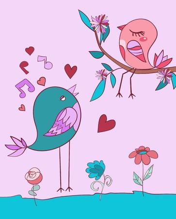 song bird: Love bird song. Vector illustration Illustration