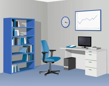 офис: Кабинет офис в синий цвет. Иллюстрация