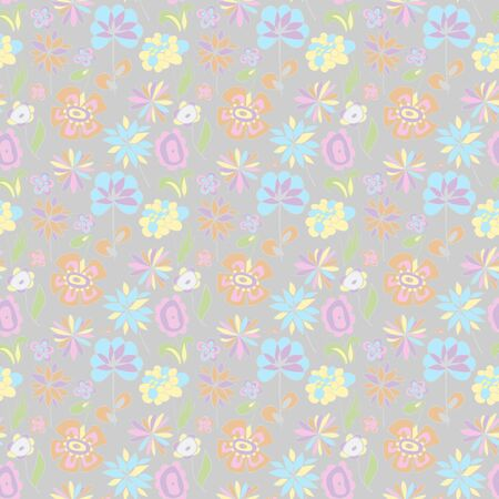 Pattern of pastel colors on a gray background.