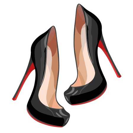 Black high-heeled shoes.  Vector