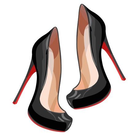 Black high-heeled shoes.  Illustration