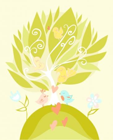 Love birds in pastel tones.  Illustration