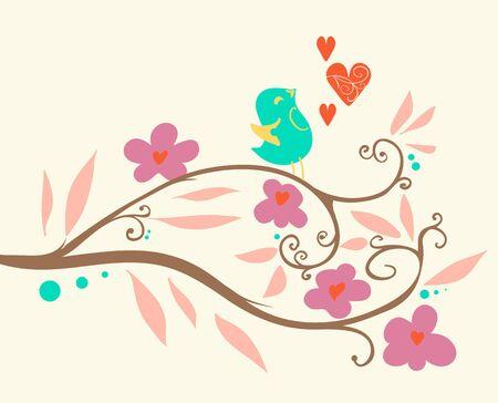 Singing bird on a branch. Vector illustration