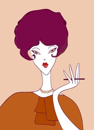 Cartoon retro girl with a cigarette. Vector illustration