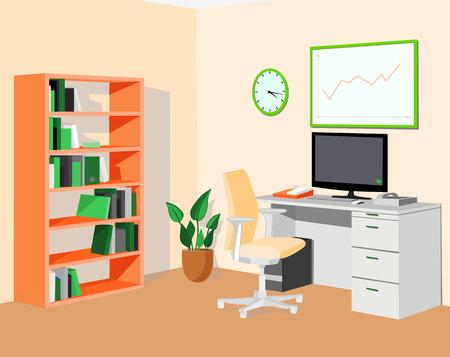 vanish: Green orange eco office. Vector illustration