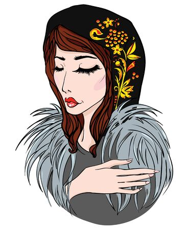 Russian girl in fur and scarf. Vector illustration Illustration