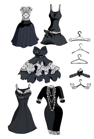 robe noire: R�glez robe noire avec dentelle blanche. Vector illustration Illustration