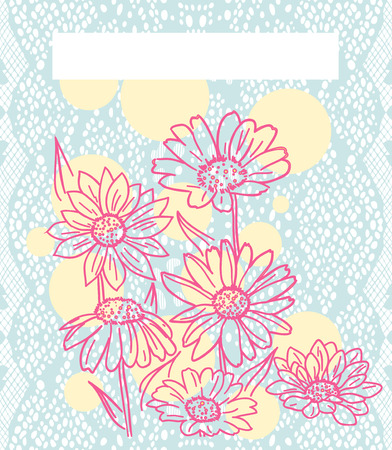 lace vector: Pink daisies over blue lace. Vector illustration